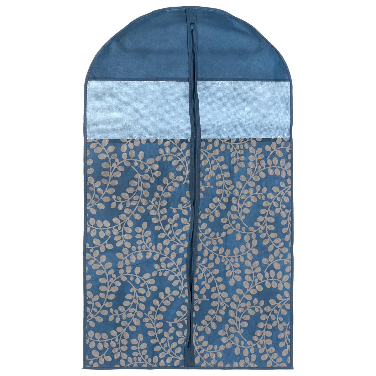 Чехол для пиджака Voila Флораль, цвет: синий, серый, 100 см х 60 см370044Легкий чехол Voila Флораль выполнен из дышащего нетканого материала (полипропилен), безопасного в использовании. Чехол предназначен для курток, пиджаков и жакетов. Имеет два прозрачных окна и специальное отверстие для крючка вешалки. Закрывается на молнию. Материал можно протирать в случае загрязнения влажной салфеткой или тряпкой. Изделие защищает одежду от пыли, моли, солнечных лучей и загрязнения, в то же время хорошо пропускает воздух. Чехол оформлен оригинальным рисунком. Чехол Voila Флораль надежно сохранит вашу одежду.