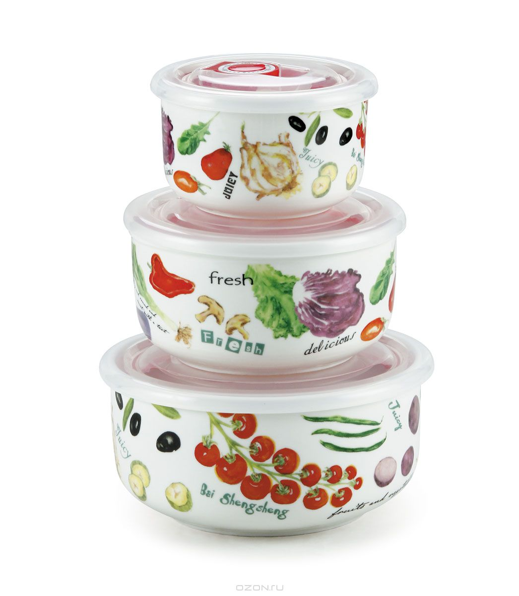 Набор контейнеров Bekker Овощи, 3 шт810004Набор Bekker Овощи состоит из трех круглых контейнеров, выполненных из высококачественного фарфора. Внешние стенки изделий декорированы красочным изображением овощей. Контейнеры снабжены пластиковыми прозрачными крышками, которые имеют силиконовую прослойку и клапан для создания вакуума, это позволяет дольше хранить продукты. Такой набор подходит для домашнего использования, контейнеры также удобно брать с собой на учебу или работу. Подходят для приготовления блюд в микроволновой печи и духовом шкафу (без крышки) при нагревании до +130°С и для замораживания (с крышкой) при температуре -30°С. Подходят для чистки в посудомоечной машине. Диаметр контейнеров: 10 см, 13 см, 15 см. Высота стенок контейнеров: 6 см, 6,5 см, 7 см. Объем контейнеров: 300 мл, 550 мл, 950 мл.