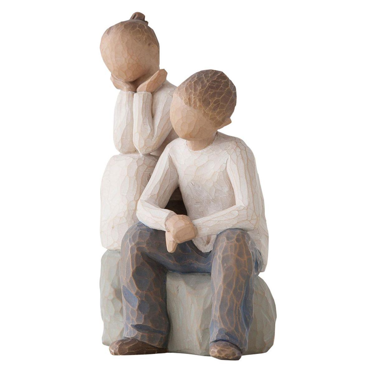 Фигурка декоративная Willow Tree Брат и сестра, высота 14 см26187Декоративная фигурка Willow Tree создана канадским скульптором Сьюзан Лорди. Фигурка выполнена из искусственного камня (49% карбонат кальция мелкозернистой разновидности, 51% искусственный камень).Фигурка Willow Tree – это настоящее произведение искусства, образная скульптура в миниатюре, изображающая эмоции и чувства, которые помогают чувствовать себя ближе к другим, верить в мечту, выражать любовь.Фигурка помещена в красивую упаковку.Купить такой оригинальный подарок, значит не только украсить интерьер помещения или жилой комнаты, но выразить свое глубокое отношение к любимому человеку. Этот прекрасный сувенир будет лучшим подарком на день ангела, именины, день рождения, юбилей.