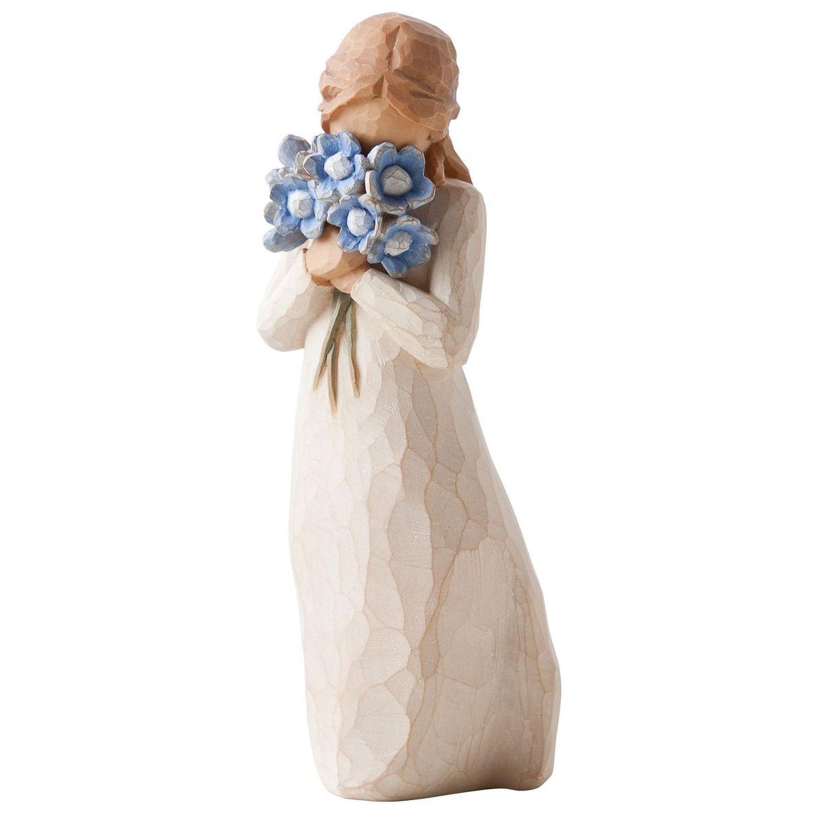 Фигурка декоративная Willow Tree Не забывай меня, высота 13,5 смTHN132NДекоративная фигурка Willow Tree создана канадским скульптором Сьюзан Лорди. Фигурка выполнена из искусственного камня (49% карбонат кальция мелкозернистой разновидности, 51% искусственный камень).Фигурка Willow Tree – это настоящее произведение искусства, образная скульптура в миниатюре, изображающая эмоции и чувства, которые помогают чувствовать себя ближе к другим, верить в мечту, выражать любовь.Фигурка помещена в красивую упаковку.Купить такой оригинальный подарок, значит не только украсить интерьер помещения или жилой комнаты, но выразить свое глубокое отношение к любимому человеку. Этот прекрасный сувенир будет лучшим подарком на день ангела, именины, день рождения, юбилей.