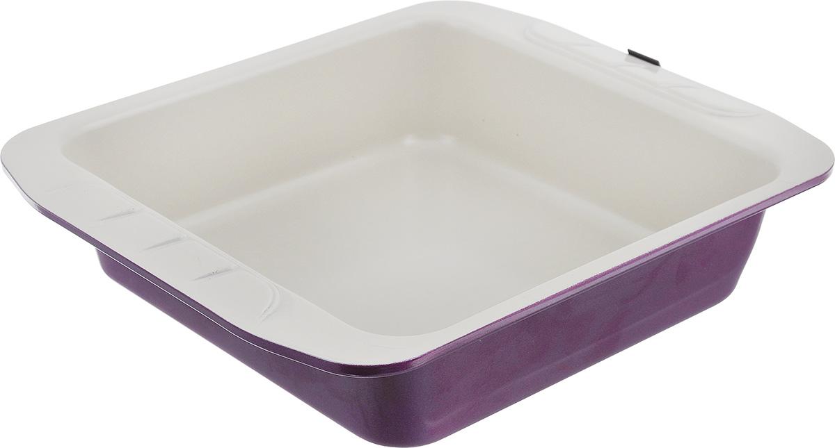 Форма для запекания Augustin Welz, квадратная, с керамическим покрытием, цвет: бежевый, фиолетовый, 23 см х