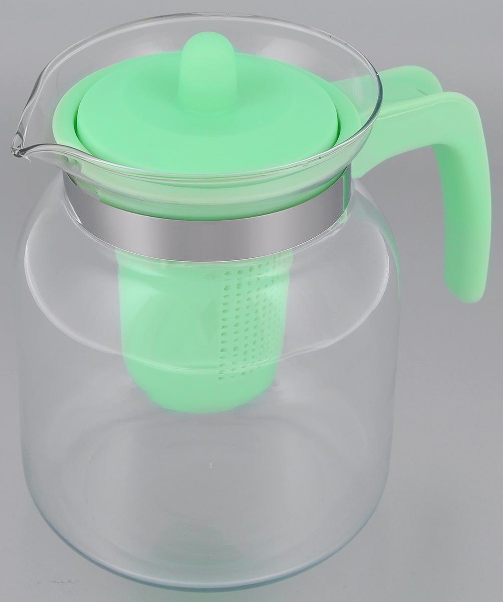 Чайник-кувшин Menu Чабрец, с фильтром, цвет: прозрачный, зеленый, 1,45 лVT-1520(SR)Чайник-кувшин Menu Чабрец изготовлен из прочного стекла, которое выдерживает температуру до 100 °C. Он прекрасно подойдет для заваривания чая и травяных настоев.Классический стиль и оптимальный объем делают чайник удобным и оригинальным аксессуаром, который прекрасно подойдет для ежедневного использования. Ручка изделия выполнена из пищевого пластика, она не нагревается и обеспечивает безопасность использования. Благодаря съемному ситечку и оптимальной форме колбы, чайник-кувшин Menu Чабрец идеально подходит для использования его в качестве кувшина для воды и прохладительных напитков.Диаметр чайника по верхнему краю: 10,3 см.Общий диаметр чайника: 11 см.Высота чайника (без учета ручки и крышки): 15,6 см.Высота чайника (с учетом ручки и крышки): 17 см.