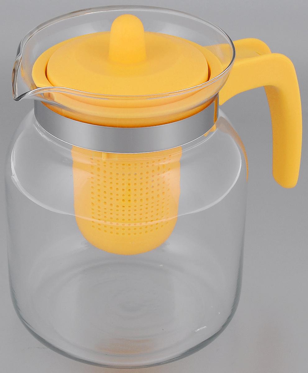 Чайник-кувшин Menu Чабрец, с фильтром, цвет: прозрачный, желтый, 1,45 л115510Чайник-кувшин Menu Чабрец изготовлен из прочного стекла, которое выдерживает температуру до 100 °C. Он прекрасно подойдет для заваривания чая и травяных настоев.Классический стиль и оптимальный объем делают чайник удобным и оригинальным аксессуаром, который прекрасно подойдет для ежедневного использования. Ручка изделия выполнена из пищевого пластика, она не нагревается и обеспечивает безопасность использования. Благодаря съемному ситечку и оптимальной форме колбы, чайник-кувшин Menu Чабрец идеально подходит для использования его в качестве кувшина для воды и прохладительных напитков.Диаметр чайника по верхнему краю: 10,3 см.Общий диаметр чайника: 11 см.Высота чайника (без учета ручки и крышки): 15,6 см.Высота чайника (с учетом ручки и крышки): 17 см.