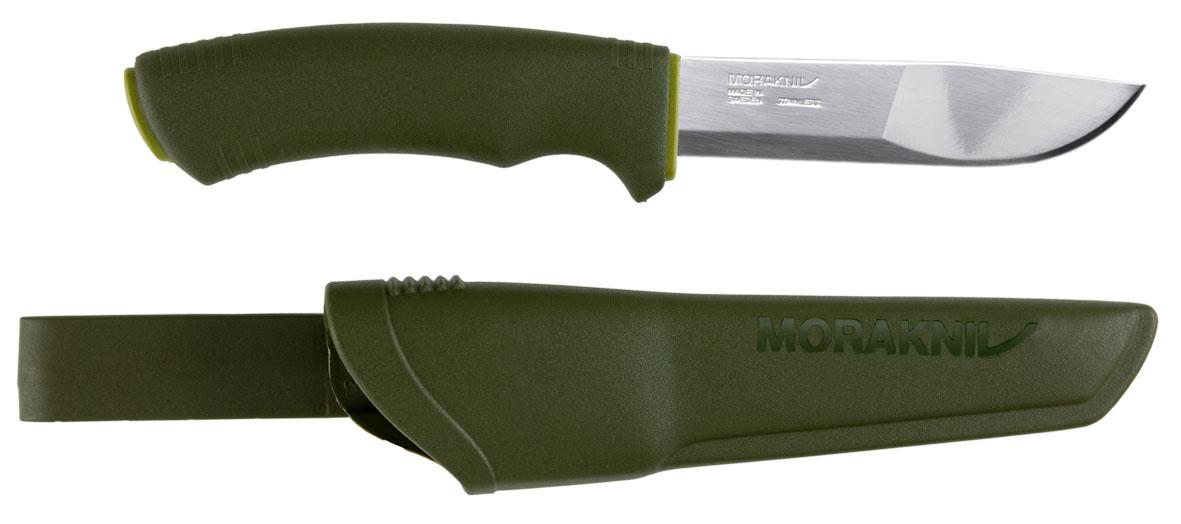 Нож Morakniv Bushcraft Forest11602Клинок ножа идентичен модели Outdoor 2000, но с другой эргономической рукояткой. Расцветка ножа защитно-зеленая. Клинок изготовлен из холоднокатаной нержавеющей стали (S) фирмы Sandvik, его длина 106 мм. Нож имеет пластиковую рукоятку и комплектуется пластиковыми ножнами с креплением к поясу.твердость 57-58 HRC (по Роквеллу)