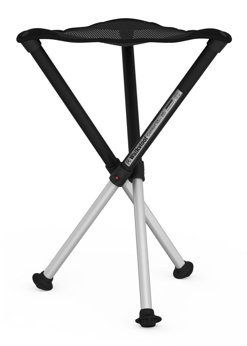 Стул складной Walkstool Comfort 55L, цвет: черный0036501Складной стул для охоты Walkstool отличается от аналогов качеством и надежностью. Этот стул очень легкий и удобный незаменим на охоте и рыбалке, а компактный размер сэкономит место в багажнике автомобиля. Складной стул будет отличным спасением при неожиданном нашествии большого количества гостей к вам домой. Настоящий турист сразу же оценит малый вес, которым обладает складной стул - очень важно при длительных пеших путешествиях. Стул компактно складывается в трубочку и имеет два рабочих режима: полная высота и 1/2 всей высоты телескопических ножек. Высота стула 55 см. Максимальная нагрузка 200 кг. Вес 800 гр.