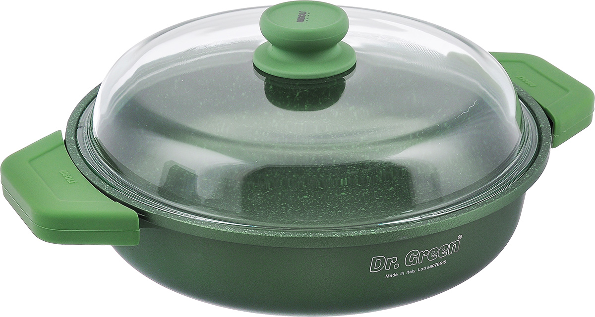Сковорода Risoli Dr. Green с крышкой, с антипригарным покрытием. Диаметр 28 см. 00099DR/28GSFS-91909Сковорода Risoli Dr. Green изготовлена из литого алюминия с антипригарным гранитным покрытием. Предназначено для приготовления здоровой и диетической пищи без добавления масла. Покрытие обладает повышенной износостойкостью, идеально подходит для интенсивного ежедневного использования, особенно хороша для тушения. Изделие оснащено удобной бакелитовой ручкой с покрытием Soft-touch и крышкой из жаропрочного стекла. Подходит для газовых и электрических плит. Не подходит для индукционных плит. Диаметр (по верхнему краю): 28 см. Высота стенки: 8 см. Толщина стенки: 7 мм. Толщина дна: 7 мм. Ширина (с учетом ручек): 38 см.