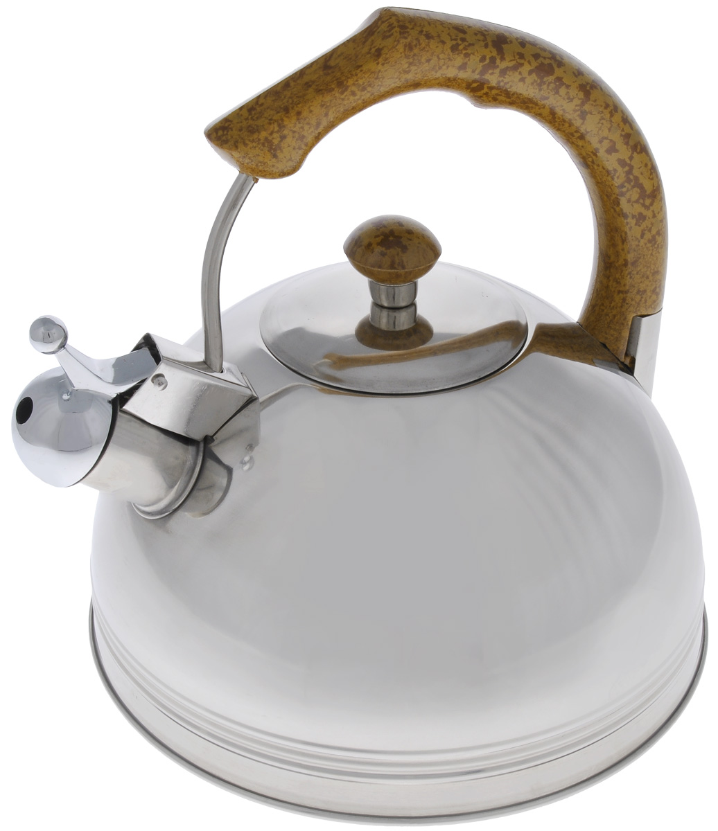 Чайник Mayer & Boch, со свистком, 2,5 л. 6088115510Чайник Mayer & Boch выполнен из высококачественной нержавеющей стали, что делает его весьма гигиеничным и устойчивым к износу при длительном использовании. Капсулированное дно с прослойкой из алюминия обеспечивает наилучшее распределение тепла. Носик чайника оснащен насадкой-свистком, что позволит вам контролировать процесс подогрева или кипячения воды. Фиксированная ручка, изготовленная из бакелита в цвет дерева, делает использование чайника очень удобным и безопасным. Поверхность чайника гладкая, что облегчает уход за ним. Эстетичный и функциональный, с эксклюзивным дизайном, чайник будет оригинально смотреться в любом интерьере.Подходит для всех типов плит, кроме индукционных. Можно мыть в посудомоечной машине.Высота чайника (без учета ручки и крышки): 8,5 см.Высота чайника (с учетом ручки и крышки): 21 см.Диаметр чайника (по верхнему краю): 11,5 см.
