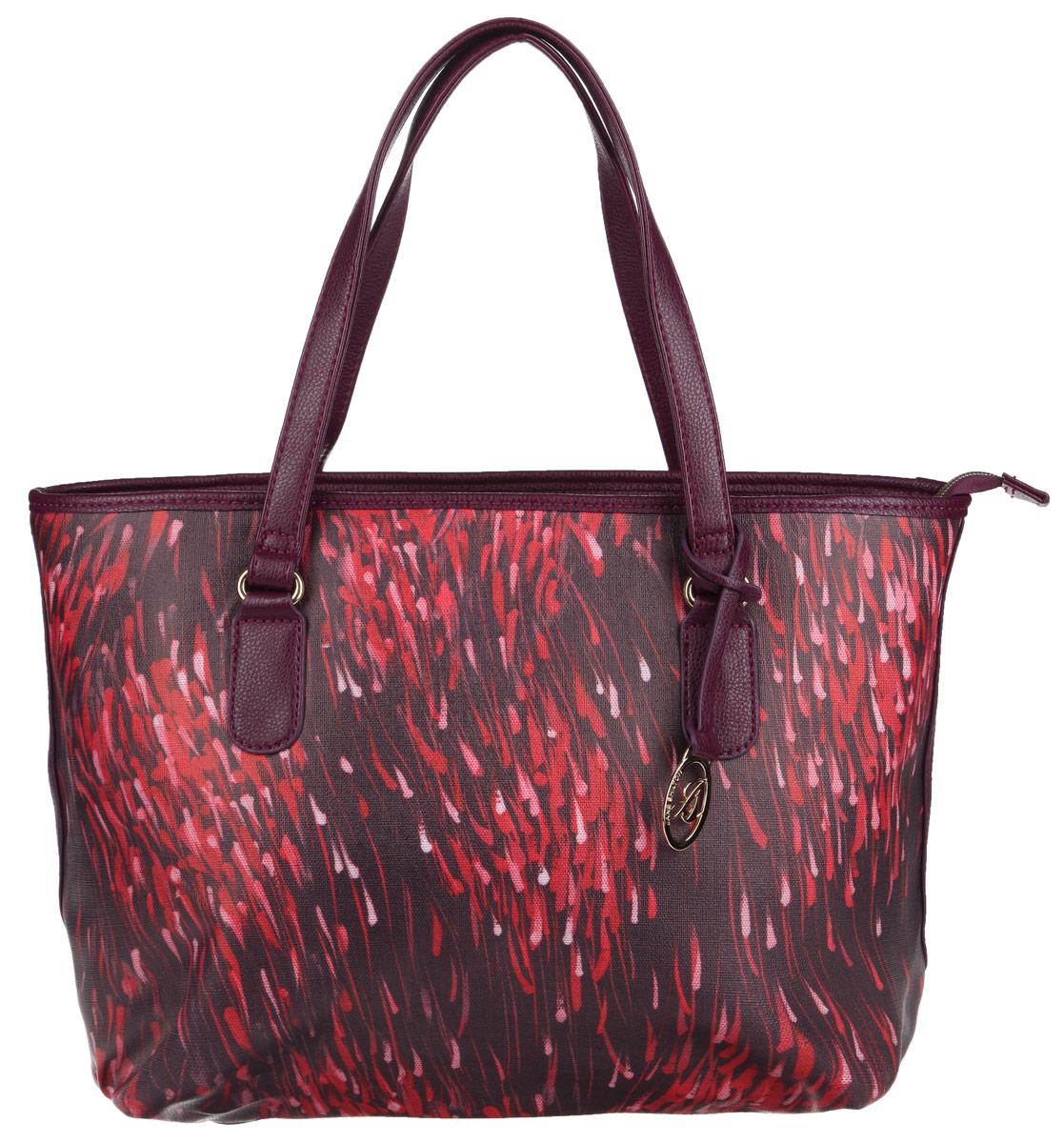 Сумка женская Jane Shilton, цвет: розовый, фиолетовый. 191471069с-2Стильная сумка Jane Shilton выполнена из искусственной кожи с мелкозернистой фактурой, оформлена оригинальным принтом, подвеской и металлической фурнитурой с символикой бренда.Сумка содержит одно отделение, которое закрывается на застежку-молнию. Внутри изделия расположены: врезной карман на застежке-молнии, накладной карман для телефона и карман-средник на молнии. Снаружи, в тыльной стенке сумки, размещен врезной карман на молнии. Изделие оснащено двумя практичными ручками, которые позволят носить сумку, как в руках, так и на плече.Оригинальный аксессуар позволит вам завершить образ и быть неотразимой.