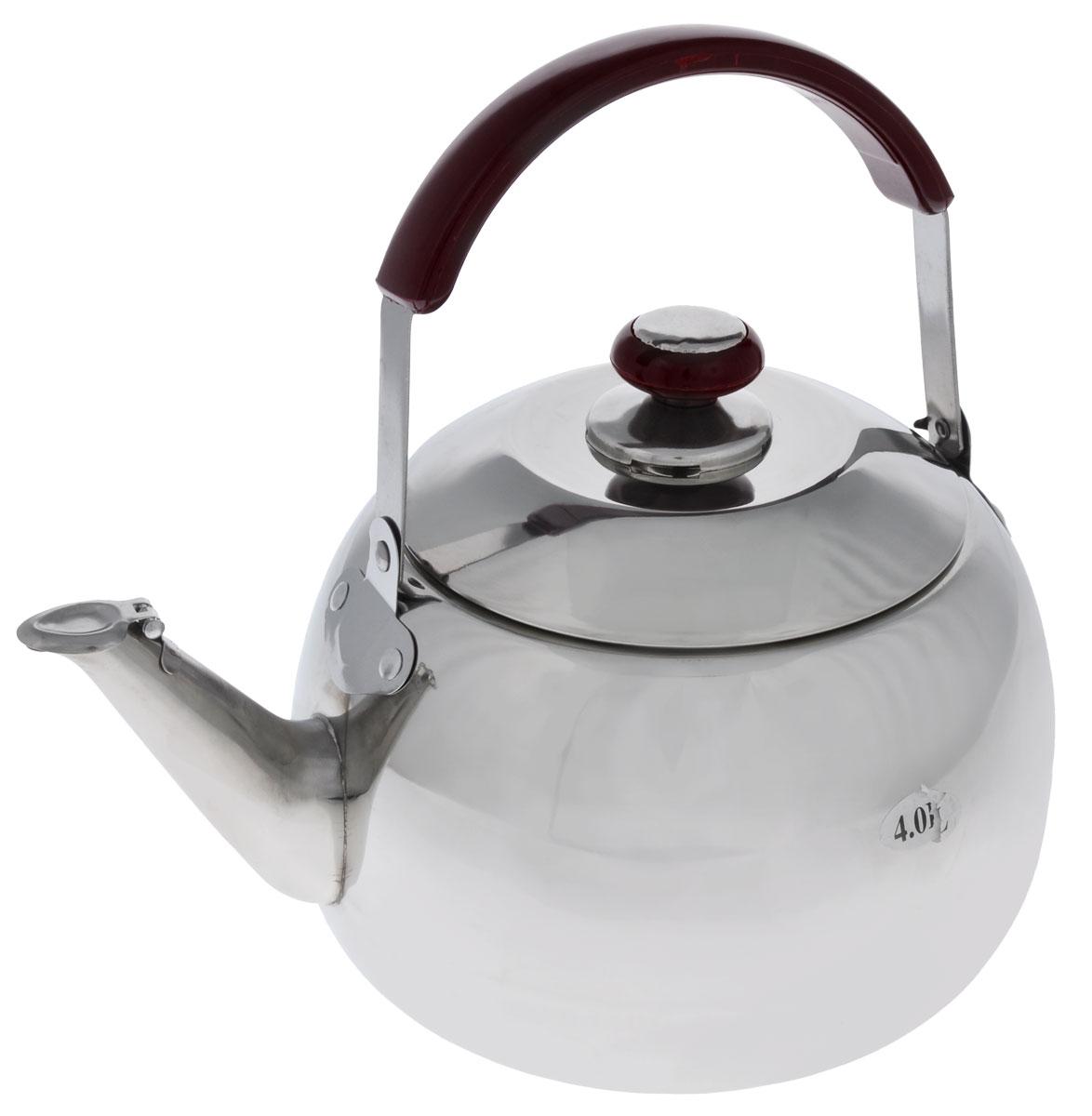 Чайник Mayer & Boch со свистком, 4 лVT-1520(SR)Корпус чайника Mayer & Boch выполнен из высококачественной нержавеющей стали с зеркальной поверхностью, что обеспечивает долговечность использования. Подвижная ручка из стали с накладкой из бакелита делает использование чайника очень удобным и безопасным. Крышка из нержавеющей стали снабжена свистком, что позволит вам контролировать процесс подогрева или кипячения воды. Капсулированное дно с прослойкой из алюминия обеспечивает наилучшее распределение тепла. Эстетичный и функциональный, с эксклюзивным дизайном, чайник будет оригинально смотреться в любом интерьере. Можно мыть в посудомоечной машине.Диаметр основания чайника: 17 см.Высота чайника (без учета крышки): 13 см.Высота чайника (с учетом крышки): 18 см.