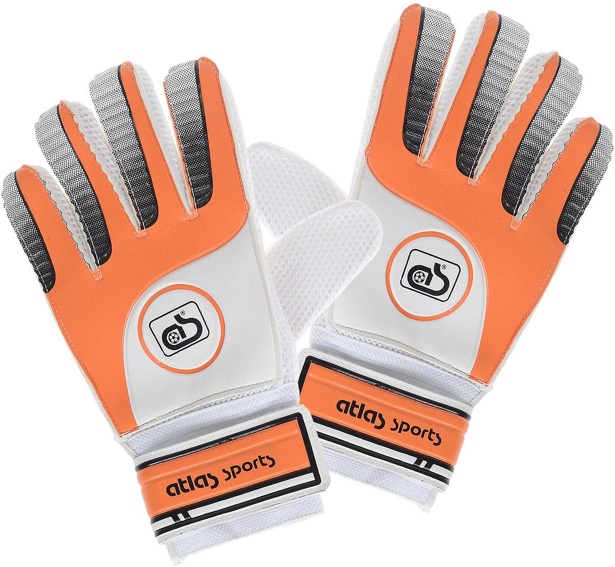 Перчатки вратарские Atlas, цвет: оранжевый, белый120330_white/royalСовременные качественные материалы, из которых изготовлены перчатки Atlas, обеспечивает наилучшее сцепление с мячом, стойкость к истиранию, а также максимальный комфорт при их использовании: наличие широкой липучки на запястье, дышащие материалы, способствующие отводу влаги. Предназначены для проведения соревнований и игр команд среднего и любительского уровней, отлично подходят и для интенсивных тренировок и игр в любых погодных условиях (при соблюдении условий эксплуатации и ухода).