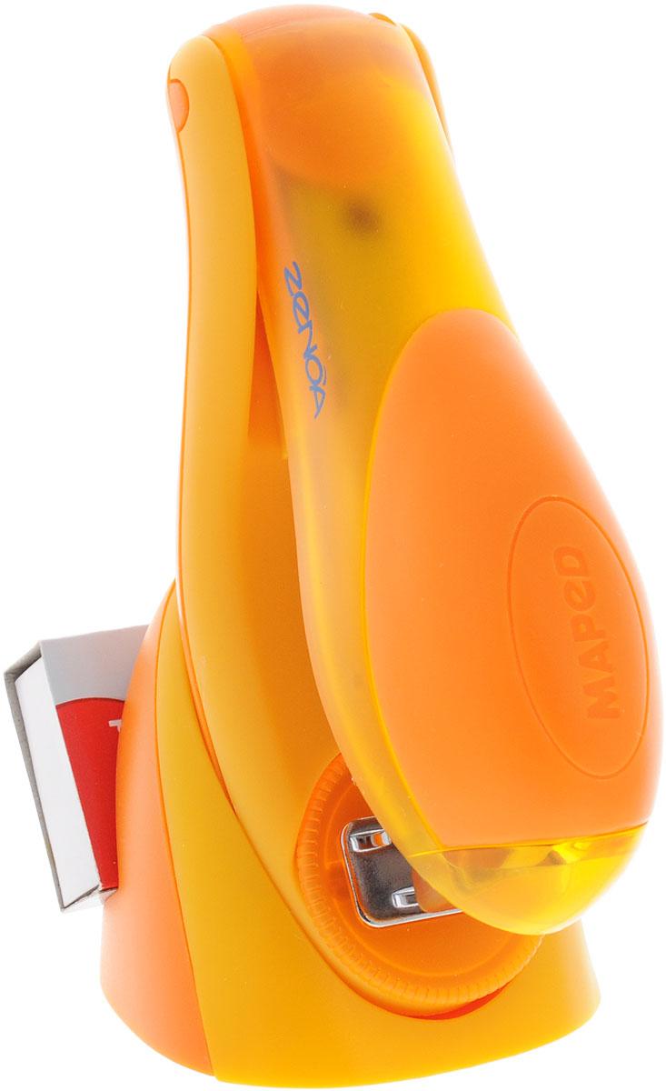Maped Степлер для скоб Zenoa30080Степлер для скоб Maped Zenoa эргономичной формы изготовлен из полупрозрачного пластика. В зоне давления руки - накладка из мягкого материала. Механизм металлический. Имеет два режима работы: сшивание в открытом виде и сшивание в закрытом виде. Скрепляет одновременно до 25 листов. Глубина закладки бумаги - до 6 мм. В комплект входят подставка для степлера и скоб, а также одна упаковка скоб 26,6 мм.