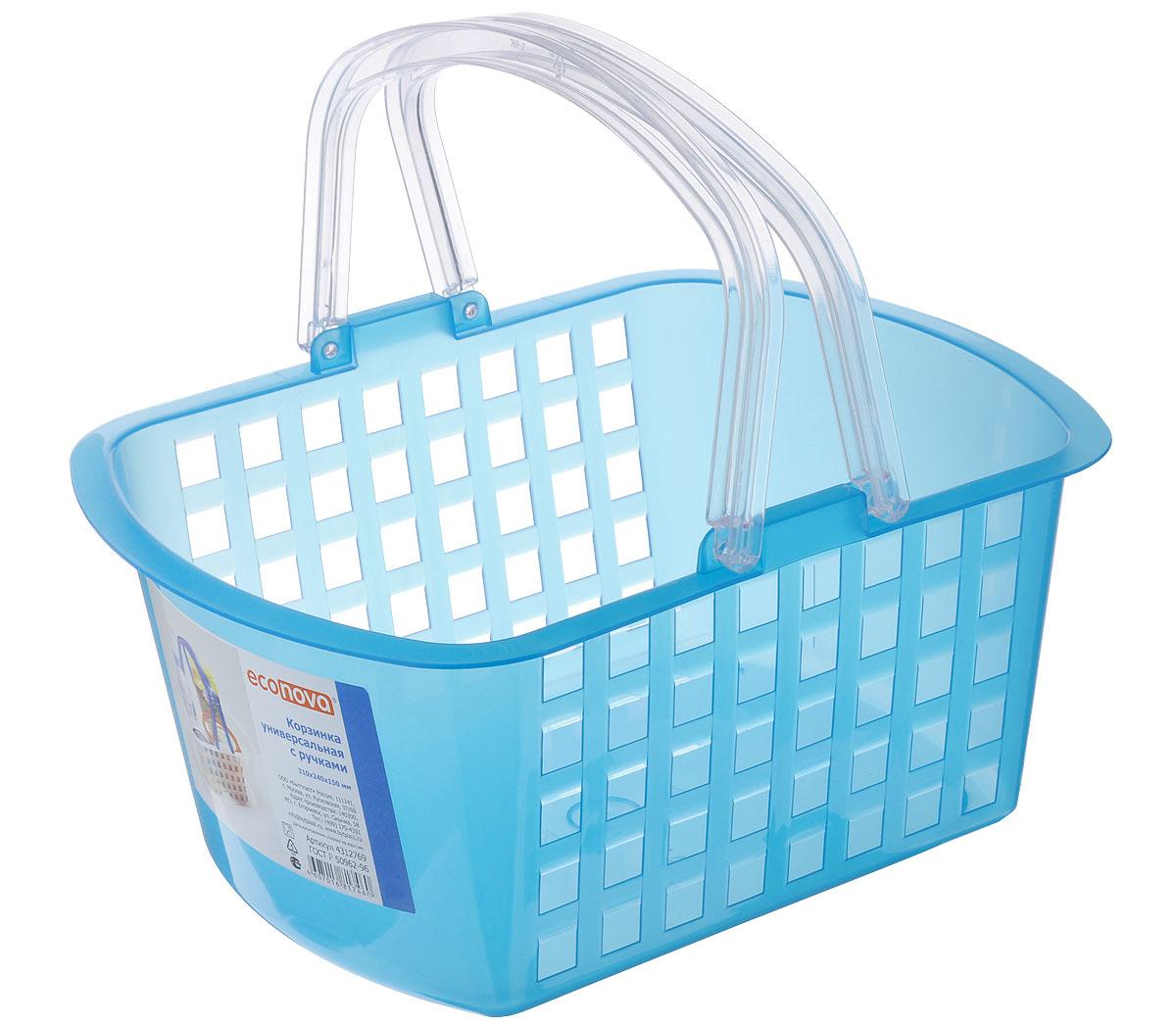Корзинка универсальная Econova, цвет: голубой, 31 х 24 х 15 смRG-D31SУниверсальная корзина Econova, изготовленная из высококачественного прочного пластика, предназначена для хранения мелочей в ванной, на кухне, даче или гараже. Изделие оснащено двумя удобными складными ручками.Это легкая корзина со сплошным дном, жесткой кромкой и небольшими отверстиями позволяет хранить мелкие вещи, исключая возможность их потери.
