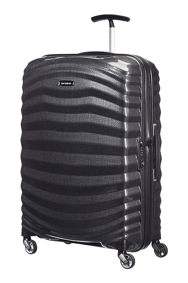 Чемодан Samsonite Lite-Shock Spinner 98V-09004, цвет: черный, 124 лГризлиОгромный чемодан Samsonite 98V*004 Lite-Shock – это совокупность роскошного дизайна, невероятной легкости и высочайшего качества. Благодаря своему объему в 124 литра, такой вместительный дорожный чемодан станет идеальным решением для семейного путешествия!Элитный чемодан Samsonite 98V*004 Lite-Shock выполнен из легендарного пластика Curv, который прославился по всему миру своей прочностью и минимальным весом. Насыщенные модные расцветки и привлекательная рельефная поверхность в виде морских волн делают чемодан неповторимым и запоминающимся!Большой дорожный чемодан Samsonite 98V*004 Lite-Shock идеален для продолжительных путешествий или поездок всей семьей. Четыре маневренных колеса и надежная телескопическая ручка сделают транспортировку стильного чемодана приятной и комфортной, даже в полностью нагруженном состоянии.Чемодан премиум-класса Samsonite 98V*004 Lite-Shock сделает вас успешным и состоятельным человеком в глазах окружающих. Купив пластиковый чемодан для ручной клади, вы по достоинству оцените непревзойденное бельгийское качество и невероятное удобство фирменного изделия. Большой вместительный чемодан Samsonite 98V*004 Lite-Shock способен сделать каждую поездку комфортной! Samsonite Lite-Shock – роскошь в каждой детали! внутренний разделитель,перекрестные ремниРазмер товара: 55 см х 33 см х 81 см