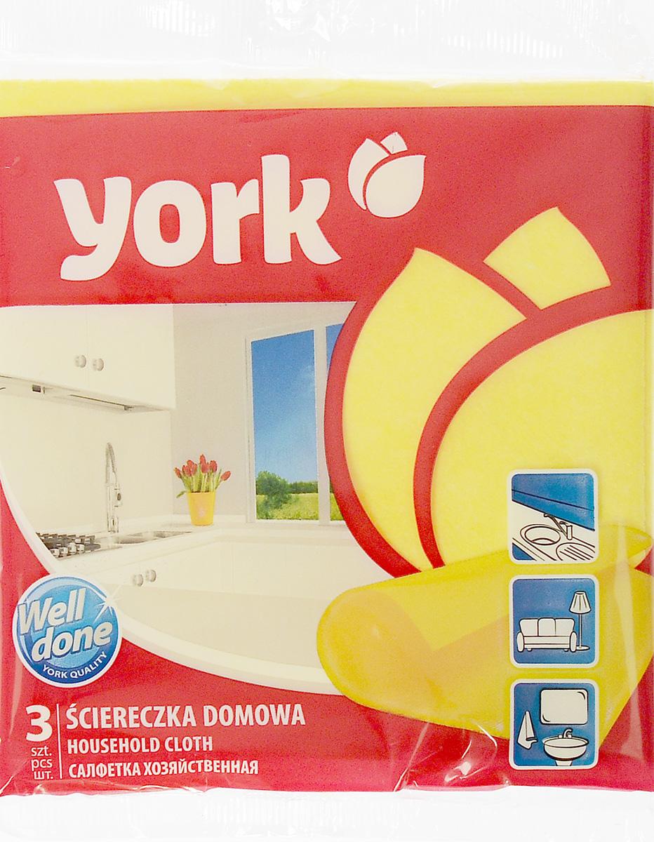 Салфетка хозяйственная York, 35 см х 35 см, 3 штKOC_SOL249_G4Салфетка York, изготовленная из полипропиленового волокна и вискозы, предназначена для очищения загрязнений на любых поверхностях. Изделие обладает высокой износоустойчивостью и рассчитано на многократное использование, легко моется в теплой воде с мягкими чистящими средствами. Салфетка не оставляет разводов и ворсинок, удаляет большинство жирных и маслянистых загрязнений без использования химических средств.