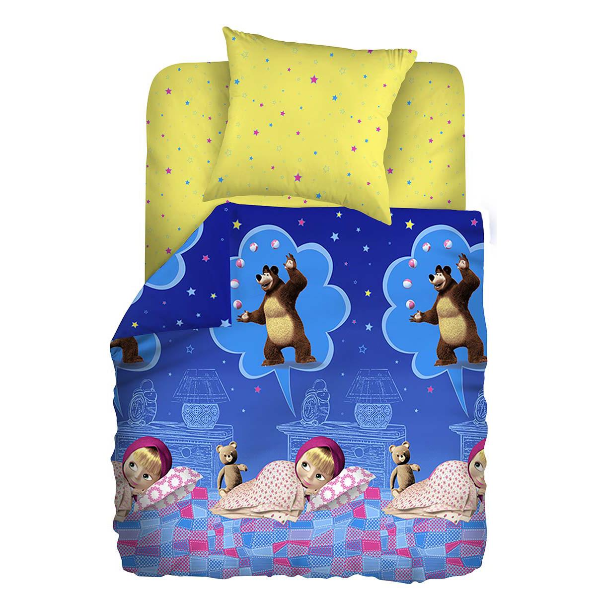 Маша и Медведь Комплект детского постельного белья Машин сон531-105Комплект детского постельного белья Маша и Медведь Машин сон, состоящий из наволочки, простыни и пододеяльника, выполнен из натурального 100% хлопка. Пододеяльник оформлен рисунком в виде героев из мультфильма Маша и Медведь. Хлопок - это натуральный материал, который не раздражает даже самую нежную и чувствительную кожу малыша, не вызывает аллергии и хорошо вентилируется. Такой комплект идеально подойдет для кроватки вашего малыша. На нем ребенок будет спать здоровым и крепким сном.
