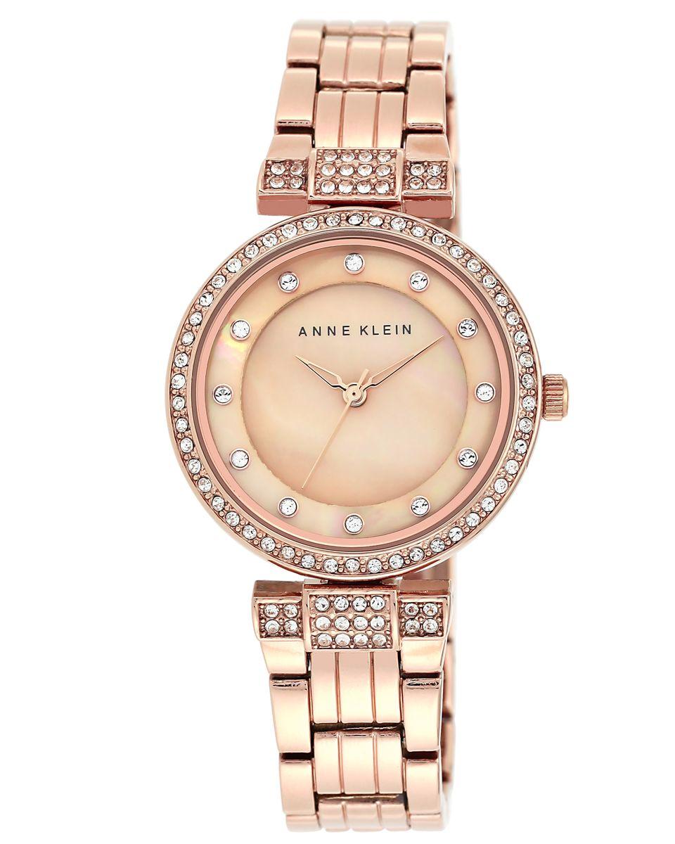 Наручные часы женские Anne Klein, цвет: розовый, коричневый. 1852 RMRGBM8434-58AEКорпус: металл, кристаллы, 32 мм, PVD покрытие, стекло: минеральное, браслет: металл, кристаллы, PVD покрытие, механизм: кварцевый, водозащита: 2 ATM