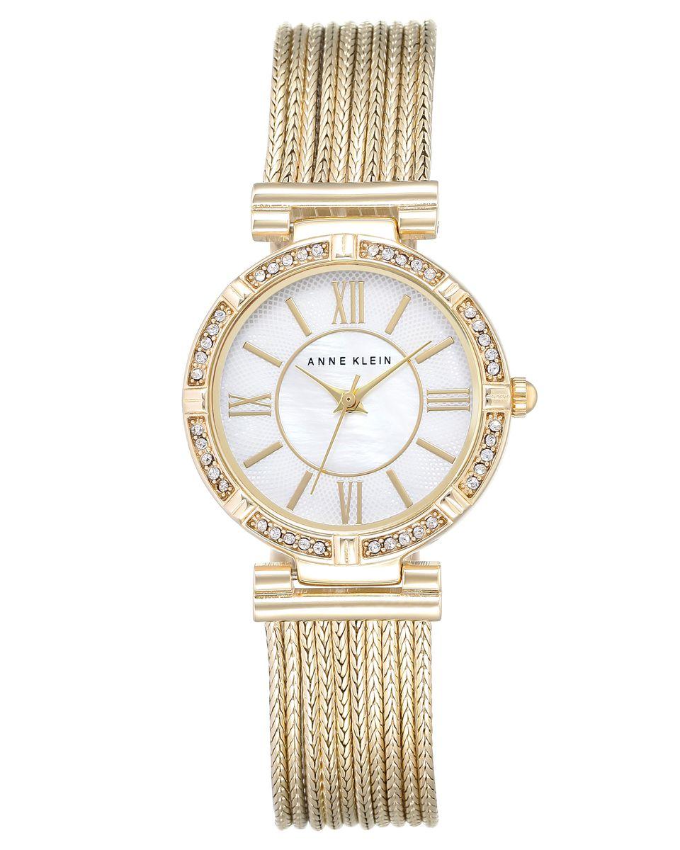 Наручные часы женские Anne Klein, цвет: золотой, белый. 2144 MPGBBM8434-58AEКорпус 28мм, циферблат- натуральный перламутр, безель украшен кристаллами Swarovski, браслет выполнен из 9 цепей с PVD покрытием золотистого цвета, водозащита- 3 АТМ
