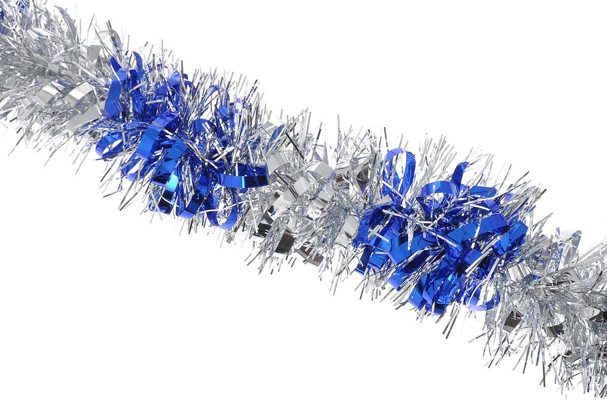 Мишура новогодняя Sima-land, цвет: серебристый, синий, диаметр 8 см, длина 200 см. 702578701305_серебристыйМишура новогодняя Sima-land, выполненная из двухцветной фольги, поможет вам украсить свой дом к предстоящим праздникам. Мишура армирована, то есть имеет проволоку внутри и способна сохранять приданную ей форму.Новогодняя елка с таким украшением станет еще наряднее. Новогодней мишурой можно украсить все, что угодно - елку, квартиру, дачу, офис - как внутри, так и снаружи. Можно сложить новогодние поздравления, буквы и цифры, мишурой можно украсить и дополнить гирлянды, можно выделить дверные колонны, оплести дверные проемы. Коллекция декоративных украшений из серии Зимнее волшебство принесет в ваш дом ни с чем несравнимое ощущение праздника! Создайте в своем доме атмосферу тепла, веселья и радости, украшая его всей семьей.