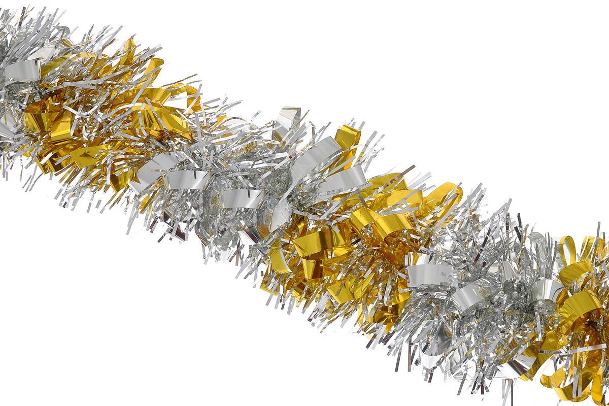 Мишура новогодняя Sima-land, цвет: серебристый, желтый, диаметр 8 см, длина 200 см. 702578K100Мишура новогодняя Sima-land, выполненная из двухцветной фольги, поможет вам украсить свой дом к предстоящим праздникам. Мишура армирована, то есть имеет проволоку внутри и способна сохранять приданную ей форму.Новогодняя елка с таким украшением станет еще наряднее. Новогодней мишурой можно украсить все, что угодно - елку, квартиру, дачу, офис - как внутри, так и снаружи. Можно сложить новогодние поздравления, буквы и цифры, мишурой можно украсить и дополнить гирлянды, можно выделить дверные колонны, оплести дверные проемы. Коллекция декоративных украшений из серии Зимнее волшебство принесет в ваш дом ни с чем несравнимое ощущение праздника! Создайте в своем доме атмосферу тепла, веселья и радости, украшая его всей семьей.