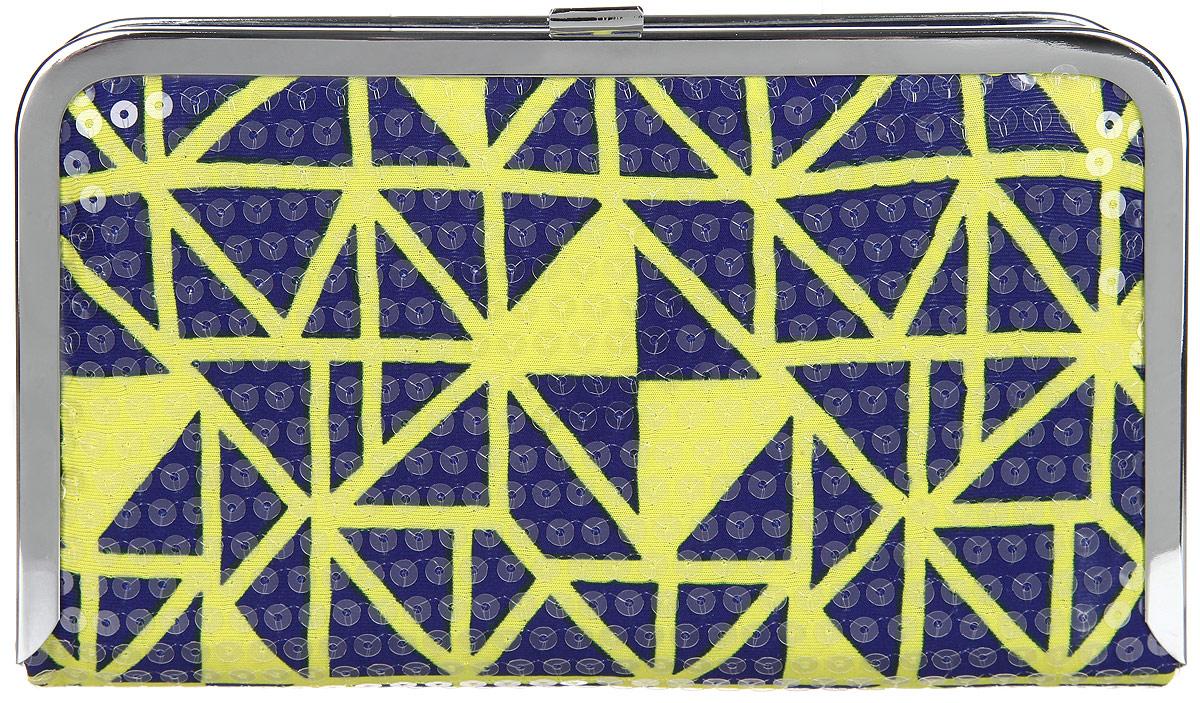 Клатч женский Labbra, цвет: фиолетовый, желтый. L-14881-1747998-101Великолепный женский клатч Labbra, выполненный из полиэстера и металла, оформлен оригинальным принтом и пайетками.Изделие имеет одно основное отделение, внутри которого имеется открытый накладной карман. Закрывается клатч на металлическую защелку.Модель оснащена плечевым ремнем в виде цепочки.Стильный клатч внесет элегантные нотки в ваш образ и подчеркнет ваше отменное чувство стиля.