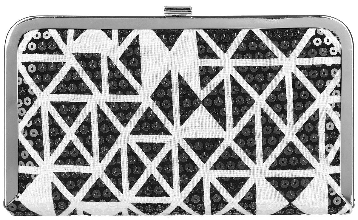 Клатч женский Labbra, цвет: черный, белый. L-14881-1101225Великолепный женский клатч Labbra, выполненный из полиэстера и металла, оформлен оригинальным принтом и пайетками.Изделие имеет одно основное отделение, внутри которого имеется открытый накладной карман. Закрывается клатч на металлическую защелку.Модель оснащена плечевым ремнем в виде цепочки.Стильный клатч внесет элегантные нотки в ваш образ и подчеркнет ваше отменное чувство стиля.
