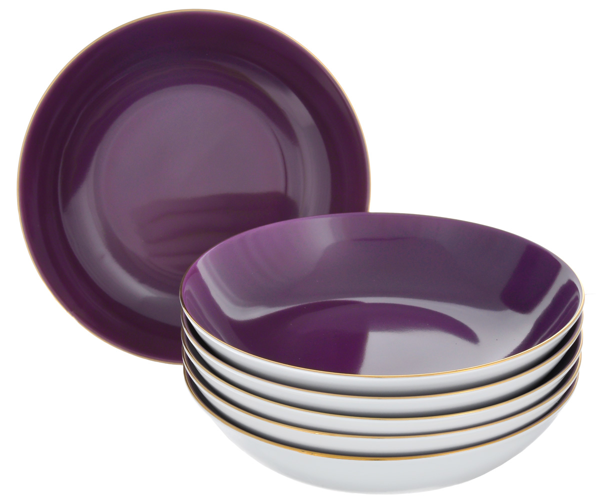 Набор глубоких тарелок Yves De La Rosiere Monalisa, цвет: фиолетовый, белый, диаметр 20 см, 6 шт115510Набор Yves De La Rosiere Monalisa состоит из шести глубоких тарелок, оформленных золотистой каймой. Предметы набора изготовлены из высококачественного фарфора. Изящный дизайн придется по вкусу и ценителям классики, и тем, ктопредпочитает утонченность и изысканность. Он настроит на праздничный лад иподарит хорошее настроение с самого утра.Диаметр тарелки (по верхнему краю): 20 см.Высота тарелки: 4,9 см.