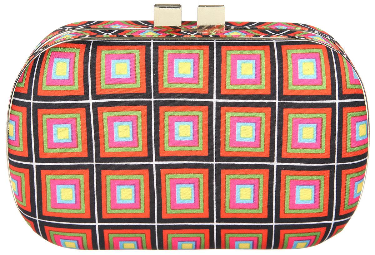 Клатч женский Eleganzza, цвет: черный, оранжевый, розовый. ZZ-131888-2Ультрамодный женский клатч Eleganzza выполнен из металла и текстиля с ярким оригинальным принтом.Изделие имеет одно основное отделение, внутри которого имеется открытый накладной карман на резинке. Закрывается клатч на защелку.Модель оснащена плечевым ремнем в виде цепочки.Роскошный клатч внесет элегантные нотки в ваш образ и подчеркнет ваше отменное чувство стиля.