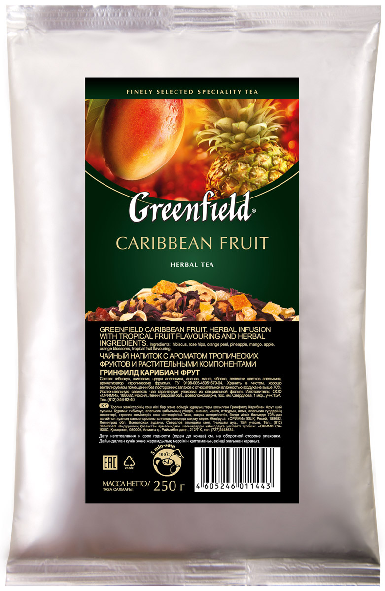 Greenfield Caribbean Fruit фруктовый листовой чай, 250 г0120710Нежное дыхание цветов апельсина в ореоле легкой сладости спелого манго и характерной кислинки гибискуса подчеркивает выразительность глубокого аромата Greenfield Caribbean Fruit.Солнечная свежесть цитрусовых, пикантные оттенки сочного ананаса и мягкие ноты шиповника завершают великолепное равновесие вкусовой гаммы, в которой каждый оттенок неповторим и точен.