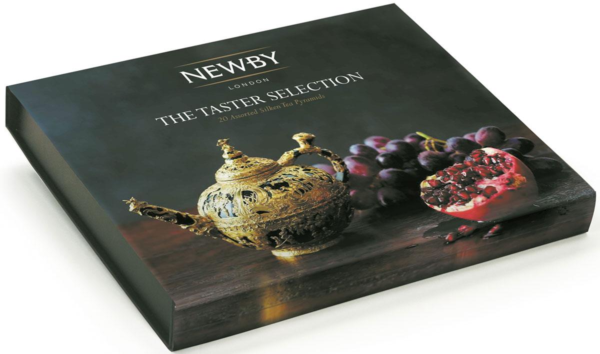 Newby The Taster Selection подарочный набор листового чая в пирамидках (4 вкуса), 20 шт0120710Набор Newby The Taster Selection упакован в подарочную картонную коробку в картонном рукаве с тисненым логотипом на крышке. Подарочная упаковка содержит 4 вида крупнолистового чая в пирамидках - прекрасный подарок к новогодним праздникам.Наполнение по 5 пирамидок каждого вида чая:Английский Завтрак: купаж черных сортов чая из Ассама, Цейлона и Кении. Чашка насыщенного янтарного цвета идеальна для начала дняЭрл Грей: насыщенный черный чай, яркий настой с натуральным ароматом и цитрусовым вкусом спелого бергамотаМасала Чай: черный чай Ассам и ароматные специи собраны в гармоничный букет, дающий богатый солодовый настой с острыми пряными нотамиЖасминовая Принцесса: светло-медовый настой с изысканным ароматом жасмина. Вкус мягкий, деликатный, с цветочными нотками и сладким послевкусием