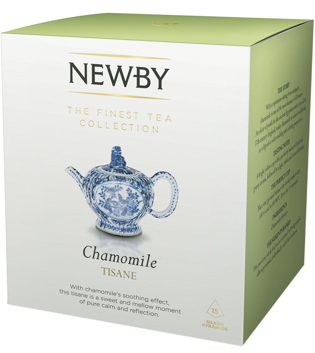 Newby Chamomile травяной чай в пирамидках, 15 штTALTHB-DP0025Newby Chamomile - успокаивающий травяной чай из цельных цветов ромашки. Настой с ароматом луга и послевкусием сушеных яблок. Каждая пирамидка упакована в индивидуальное саше из алюминиевой фольги для сохранения свежести чайного листа.