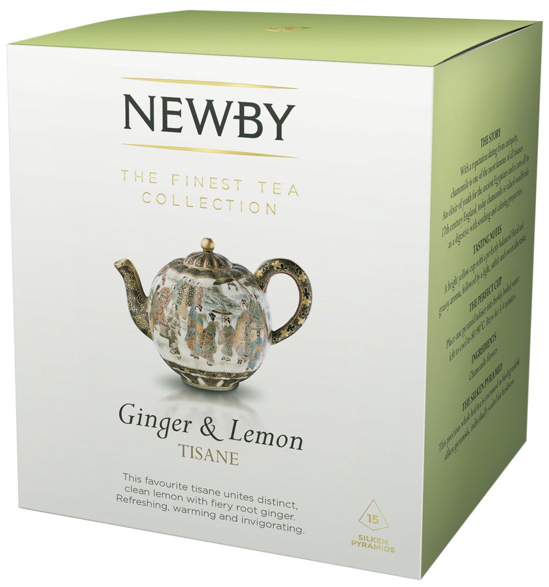 Newby Ginger & Lemon травяной чай в пирамидках, 15 шт4680016271364Чай Newby Ginger & Lemon - это имбирь, душистый лемонграсс в сочетании с цедрой лимона. Каждая пирамидка упакована в индивидуальное саше из алюминиевой фольги для сохранения свежести ингредиентов.