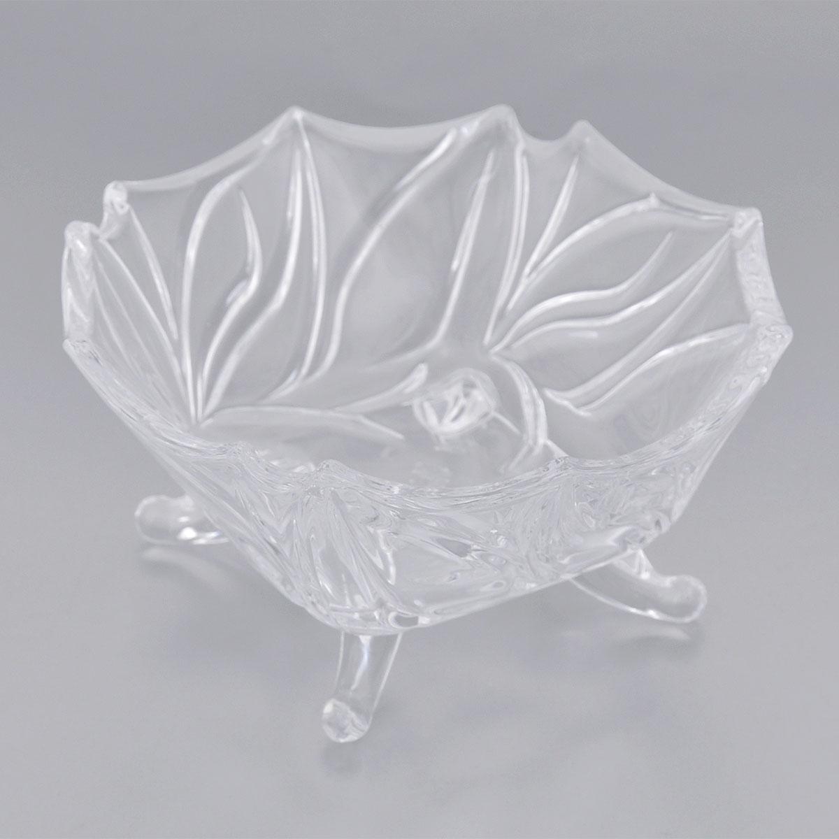 Конфетница Elan Gallery Цветочный узор, диаметр 13 см54 009312Оригинальная конфетница Elan Gallery Цветочный узор, изготовленная из прочного стекла, имеет многогранную рельефную поверхность в виде объемных цветочных узоров. Конфетница оснащена изящными ножками. Изделие предназначено для подачи сладостей (конфет, сахара, меда, изюма, орехов и многого другого). Она придает легкость, воздушность сервировке стола и создаст особую атмосферу праздника. Конфетница Elan Gallery Цветочный узор не только украсит ваш кухонный стол и подчеркнет прекрасный вкус хозяина, но и станет отличным подарком для ваших близких и друзей. Диаметр конфетницы (по верхнему краю): 13 см.Высота конфетницы: 6 см.