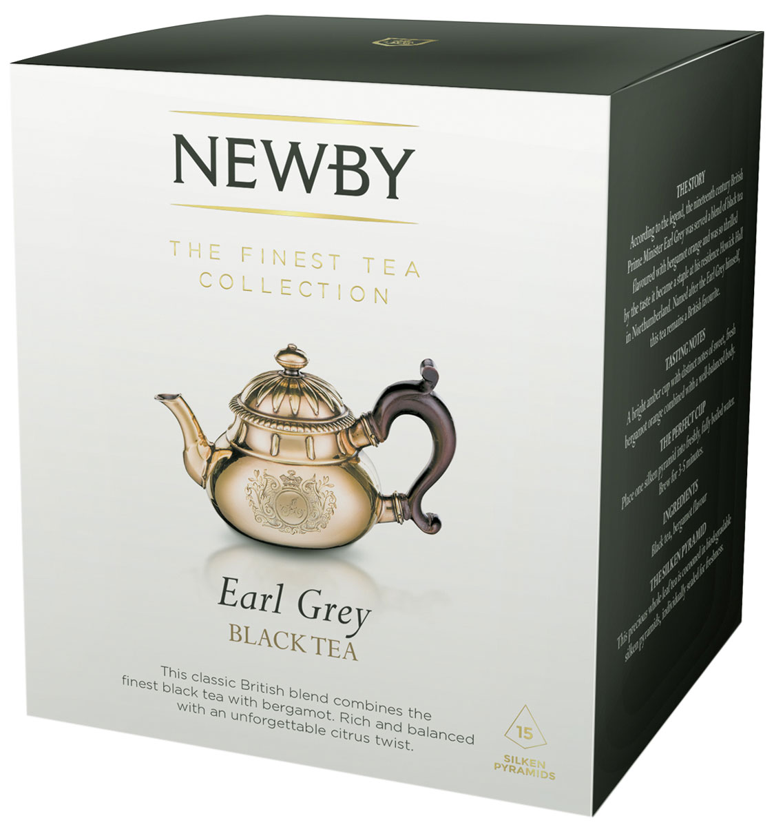 Newby Earl Grey черный с бергамотом чай в пирамидках, 15 шт0120710Насыщенный черный чай Newby Earl Grey с натуральным ароматом и цитрусовым привкусом бергамота. Каждая пирамидка упакована в индивидуальное саше из алюминиевой фольги для сохранения свежести чайного листа.