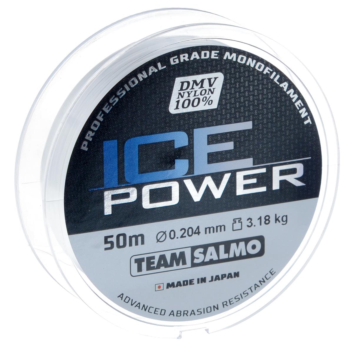 Леска монофильная Team Salmo Ice Power, сечение 0,204 мм, длина 50 м леска монофильная salmo tournament сечение 0 102 мм длина 50 м