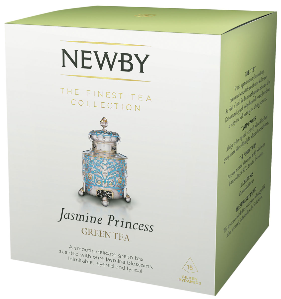 Newby Jasmine Princes зеленый чай в пирамидках, 15 шт0120710Чай Newby Jasmine Princes - это скрученные вручную из нежных типсов жемчужины зеленого чая, ароматизированные свежими цветами жасмина. Каждая пирамидка упакована в индивидуальное саше из алюминиевой фольги для сохранения свежести чайного листа.