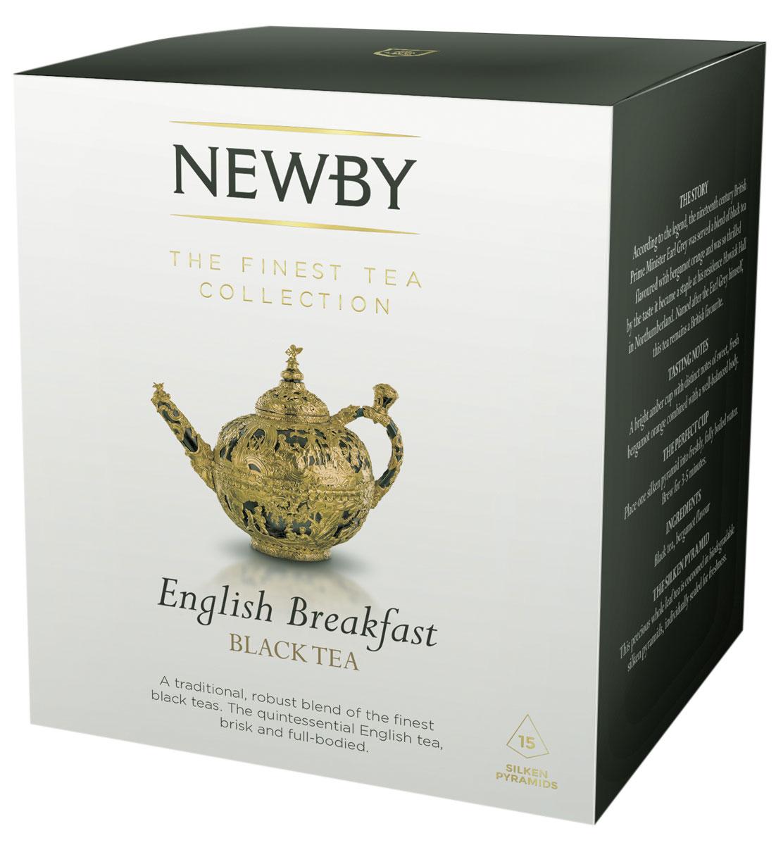 Newby English Breakfast черный чай в пирамидках, 15 шт0120710Newby English Breakfast сочетает в себе традиционный купаж черных сортов чая из Ассама, Цейлона и Кении. Чашка насыщенного янтарного цвета и богатого вкуса идеальна для начала дня. Каждая пирамидка упакована в индивидуальное саше из алюминиевой фольги для сохранения свежести чайного листа.