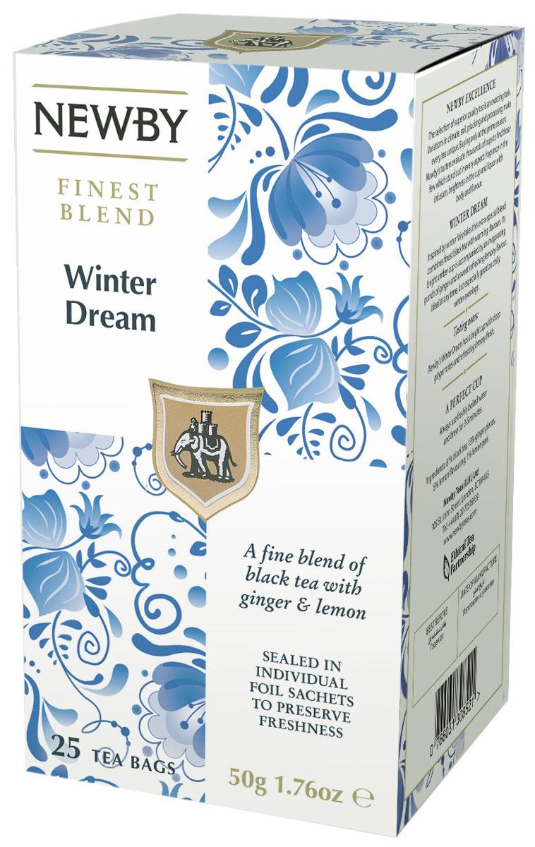 Newby Winter Dream черный чай в пакетиках, 25 штTALTHA-L00001Черный чай Newby Winter Dream с острыми нотками имбиря и освежающим вкусом лимона прекрасно взбодрит и освежит вас как утром, так и в любое время дня!