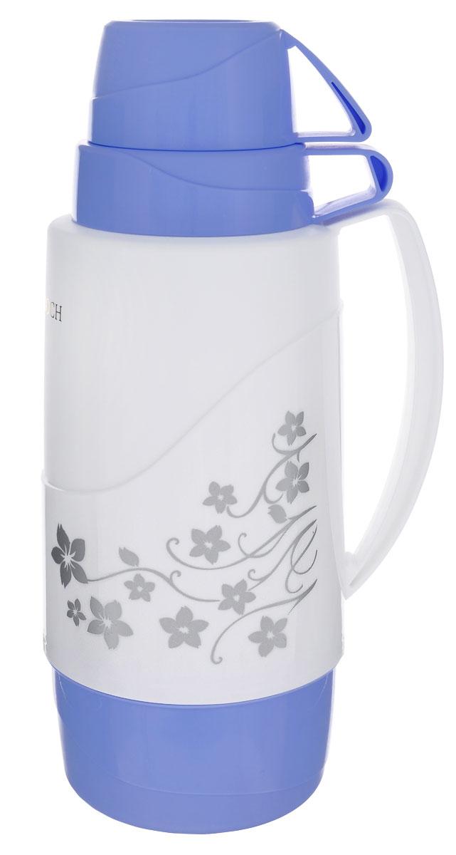 Термос Mayer & Boch, цвет: белый, голубой, 1,8 л. 21646115510Термос Mayer & Boch пригодится в любой ситуации: будь то экстремальный поход, пикник или поездка. Корпус термоса, выполненный из цветного пищевого полипропилена (пластика), декорирован цветочным узором. Для удобства переноски предусмотрена ручка. Колба термоса изготовлена из стекла, которое является экологически чистым материалом и прекрасно держит температуру. Удобный носик позволит аккуратно налить напиток в съемную чашу.Термос Mayer & Boch - это идеальный вариант для большой компании и дальней поездки. В него поместится большой объем жидкости, и вы в любое время сможете насладиться любимыми напитками.Диаметр термоса (по верхнему краю): 5,5 см.Высота термоса (без учета крышки): 31 см.Диаметр основания термоса: 11 см.Диаметр чаш (по верхнему краю): 10 см; 8,5 см.Высота чаш: 7 см; 5 см.