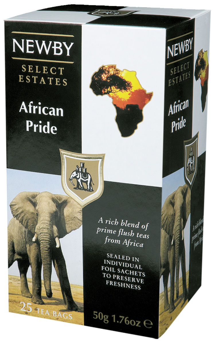Newby African Pride черный чай в пакетиках, 25 шт0120710Newby African Pride - это богатая смесь черных африканских чаев лучшего сбора. Насыщенный классический настой темного цвета с терпким вкусом отлично взбодрит и придаст сил в течение всего дня.