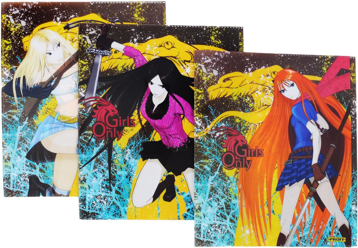 Proff Набор обложек для тетрадей и дневников Only Girls 3 штBSL_ROZ_ФорсажПрочная обложка Proff Only Girls, изготовленная из ПВХ, защитит поверхность тетради или дневника от изнашивания и загрязнений. Изделие оформлено ярким изображением любимого анимационного героя.В набор входят 3 обложки с разными картинками.