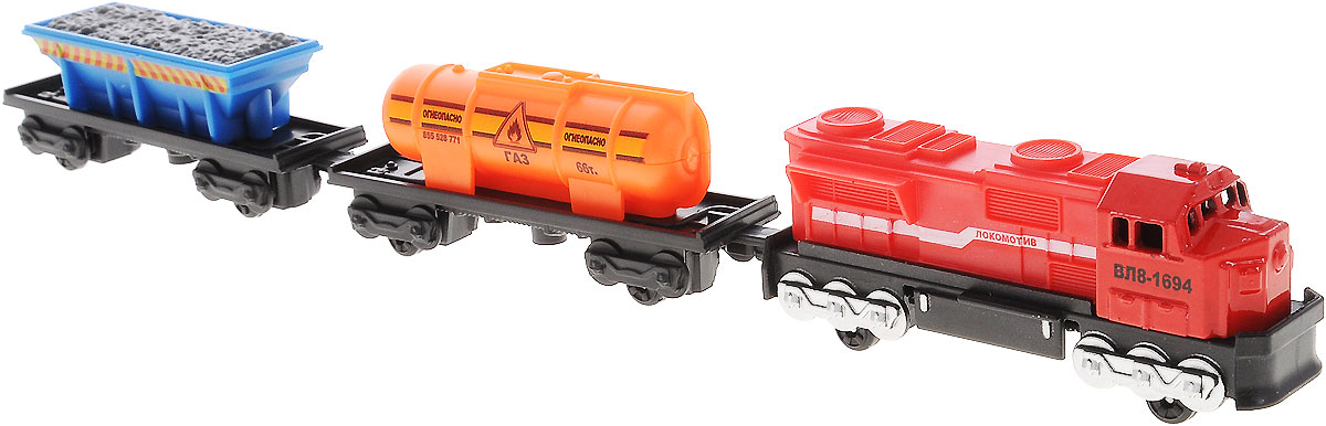 """Игрушка ТехноПарк """"Локомотив и 2 вагона"""", выполненная из пластика и металла, станет любимой игрушкой вашего малыша. В наборе реалистичный миниатюрный локомотив красного цвета, синий открытый грузовой вагон и оранжевая цистерна с газом. Вагончики легко соединяется с локомотивом. Набор поможет вашему малышу почувствовать себя машинистом настоящего грузового поезда. Ваш ребенок будет часами играть с этой игрушкой, придумывая различные истории. Порадуйте его таким замечательным подарком!"""
