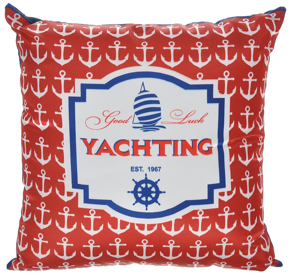 Подушка декоративная GiftnHome Yachting, 35 см х 35 см16051Декоративная подушка GiftnHome Yachting станет прекрасным украшением интерьера помещения. Наволочка выполнена из атласа, внутри - наполнитель из мягкого холлофайбера. Подушка оформлена красивым принтом в морском стиле. Сзади расположена молния, которая позволяет легко снять и постирать чехол.