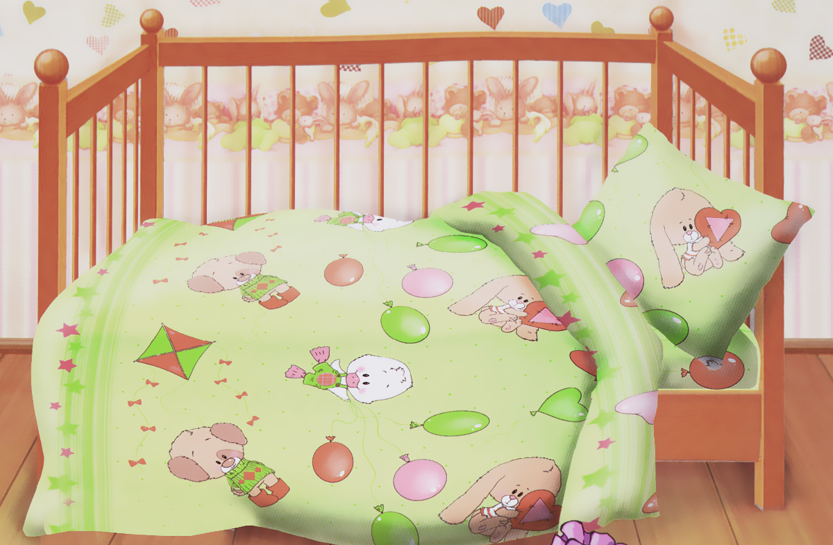 Кошки-мышки Комплект детского постельного белья Веселые друзья цвет салатовыйPANTERA SPX-2RSКомплект детского постельного белья Кошки-мышки Веселые друзья, состоящий из наволочки, простыни и пододеяльника, выполнен из натурального 100% хлопка. Пододеяльник оформлен рисунком в виде утят, зайчиков и мишек. Хлопок - это натуральный материал, который не раздражает даже самую нежную и чувствительную кожу малыша, не вызывает аллергии и хорошо вентилируется. Такой комплект идеально подойдет для кроватки вашего малыша. На нем ребенок будет спать здоровым и крепким сном.