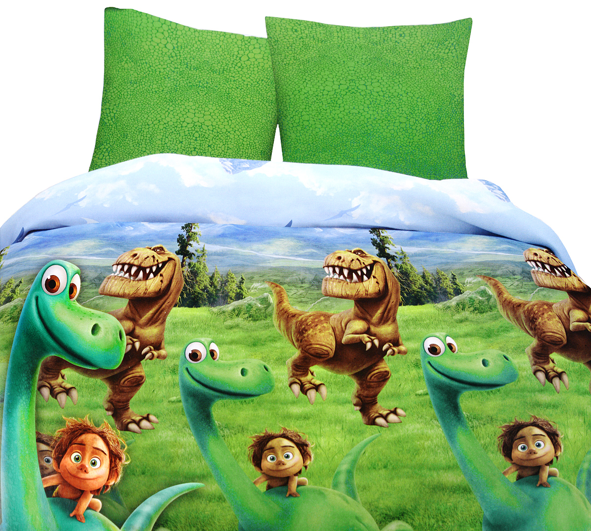 Хороший динозавр Комплект детского постельного белья Динозавр 1,5-спальный10503Комплект детского постельного белья Хороший динозавр Динозавр, состоящий из наволочки, простыни и пододеяльника, выполнен из натурального 100% хлопка. Пододеяльник оформлен рисунком в виде героев мультфильма Хороший Динозавр. Хлопок - это натуральный материал, который не раздражает даже самую нежную и чувствительную кожу малыша, не вызывает аллергии и хорошо вентилируется. Такой комплект идеально подойдет для кроватки вашего малыша. На нем ребенок будет спать здоровым и крепким сном.