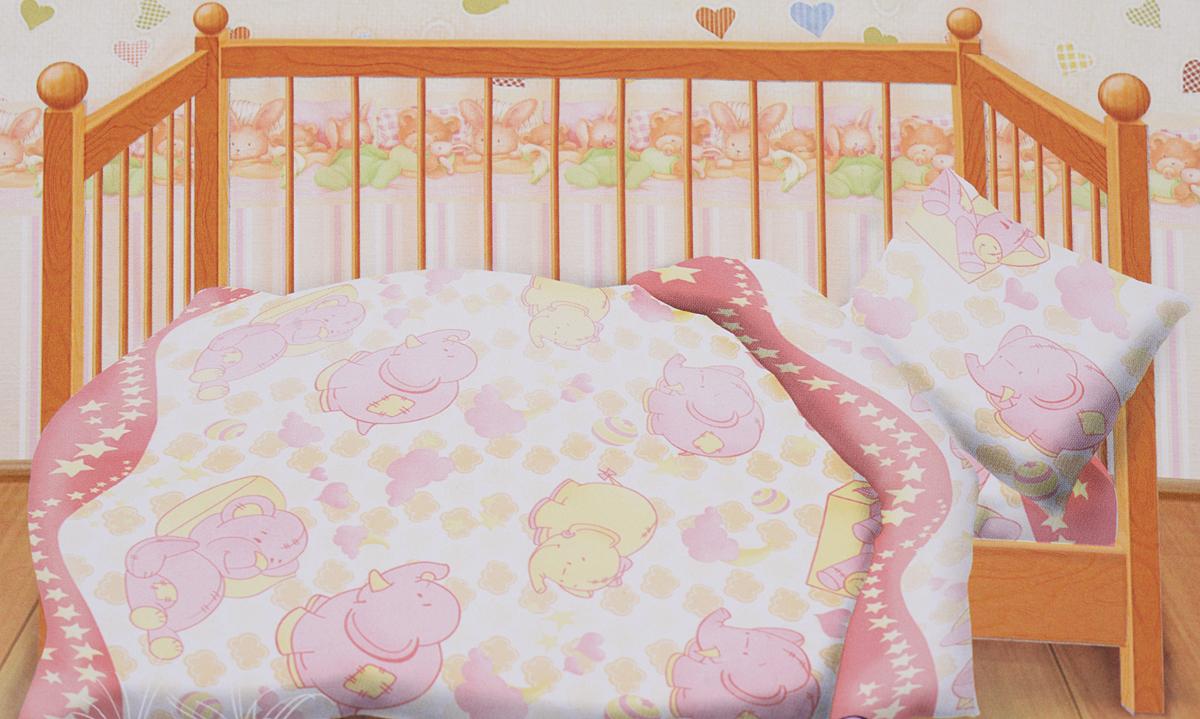 Кошки-мышки Комплект детского постельного белья Спокойной ночи желтый розовый4403/2Комплект детского постельного белья Кошки-мышки Спокойной ночи, состоящий из наволочки, простыни и пододеяльника, выполнен из натурального 100% хлопка. Пододеяльник оформлен рисунком в виде забавных слоников и мишек. Хлопок - это натуральный материал, который не раздражает даже самую нежную и чувствительную кожу малыша, не вызывает аллергии и хорошо вентилируется. Такой комплект идеально подойдет для кроватки вашего малыша. На нем ребенок будет спать здоровым и крепким сном.