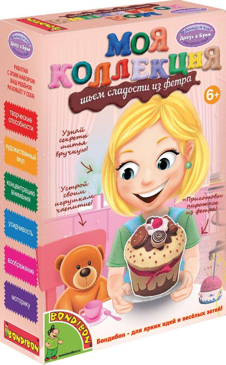 """С набором """"Шьем сладости из фетра"""" ты сможешь сшить замечательную игрушку из интересного материала – мягкого фетра. Это очень легкий и прочный материал, приятный на ощупь. Его просто шить вручную, а готовое изделие можно немного растянуть для придания ему необходимой формы. Фетр, из которого шьются игрушки, имеет очень яркие и сочные цвета! Все необходимое для шитья ты сможешь найти в наборе, а подробная инструкция подскажет, как именно сшить детали, чтобы они держались крепко-накрепко! Набор """"Шьем сладости из фетра"""" позволит тебе сшить пирожное с дольками апельсина и вишенкой в ванильной глазури, пирожное с дольками бананов в шоколаде, шоколадное пирожное с печеньем и заварным кремом, пирожное с клубникой и листьями мяты или пирожные в форме бублика и сердечка! Порадуй себя, маму или подружек лакомством к чаю! Главное – не перепутать их с настоящими сладостями!"""