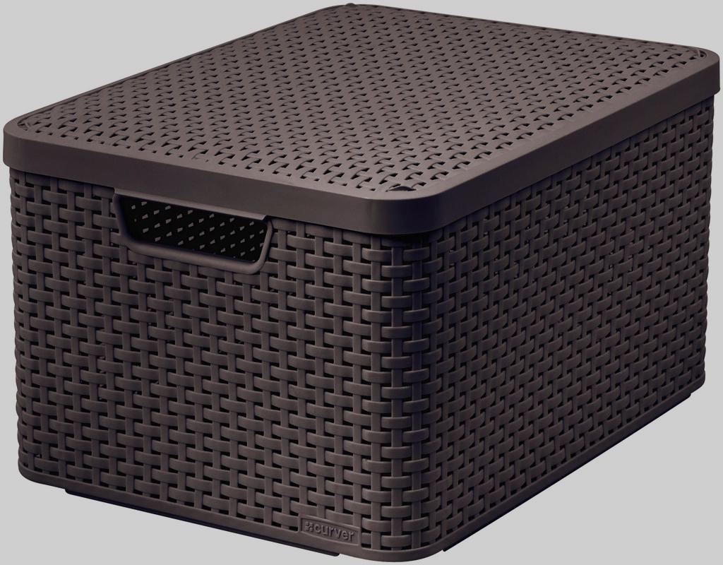 Корзина универсальная Curver Раттан, с крышкой, цвет: темно-коричневый, 44 см х 33 см х 24 смRG-D31SПрямоугольная корзина Curver Раттан с крышкой изготовлена из прочного пластика.Идеально подойдет для хранения бытовых предметов в ванной, на кухне, даче или гараже.Позволяет хранить вещи, исключая возможность их потери. Корзина с отверстиями на стенках, крышке и со сплошным дном оснащена двумя ручками для удобной переноски.