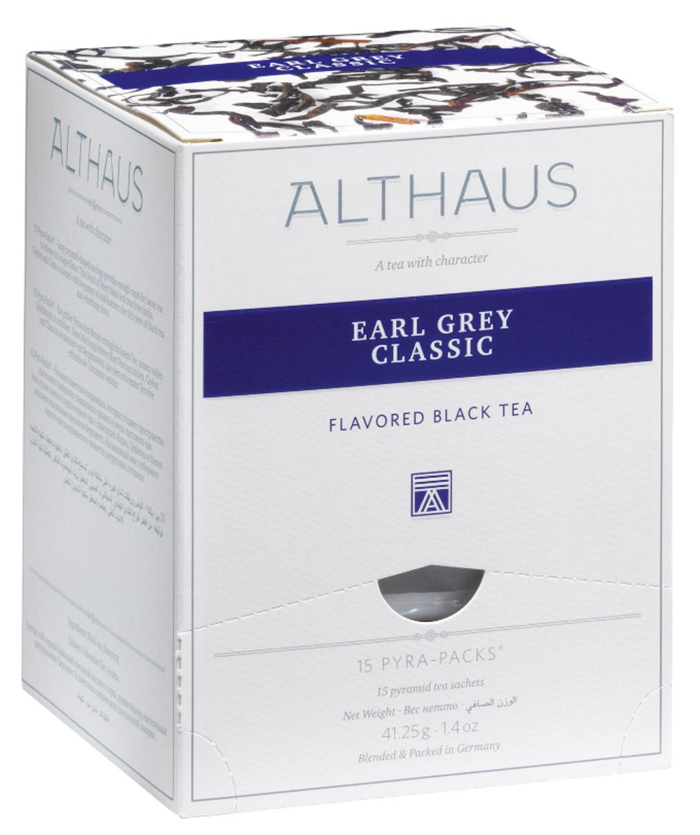 Althaus Earl Grey Classic чай черный ароматизированный в пирамидках, 15 шт0120710Althaus Earl Grey Classic - чай изысканный, но в то же время очень яркий. Главное достоинство этого чая — в характерном аромате бергамота. Дымно-горьковатое, чуть терпкое благоухание спелых средиземноморских плодов придает чаю легкую пряность, теплую свежесть солнечного утра Италии и таинственную сладковатую ноту. При заваривании стойкий маслянисто-бальзамический букет превращается в едва уловимый, невесомый цитрусовый оттенок, на фоне которого продолжает играть выразительная мелодия благородных сортов черного чая из Индии, Китая и Шри-Ланки. Красивый медно-ореховый настой с золотистым отливом дает яркий, бодрящий вкус с полным и свежим характером. Завершают эту мелодию сдержанные древесные ноты.Pyra-Pack - это коллекция из 13 купажей, в которую вошли лучшие сорта высококачественного листового чая, а также отборные смеси из цельных кусочков фруктов, ягод, цветочных лепестков, целебных трав. Pyra-Pack представляет собой инновационный вариант высокотехнологичной упаковки - нейлоновые пирамидки: Пакетики в форме пирамидок создают пространство для свободного распределения чаинок, тем самым повышая степень и скорость экстракции чая. Нейлон обладает отличной пропускной способностью, поэтому чай, заваренный в нейлоновых пирамидках, получается особо насыщенным по вкусу и ароматным. Пирамидки максимально упрощают процедуру заваривания чая, при этом сохраняя эстетический эффект традиционного чаепития.