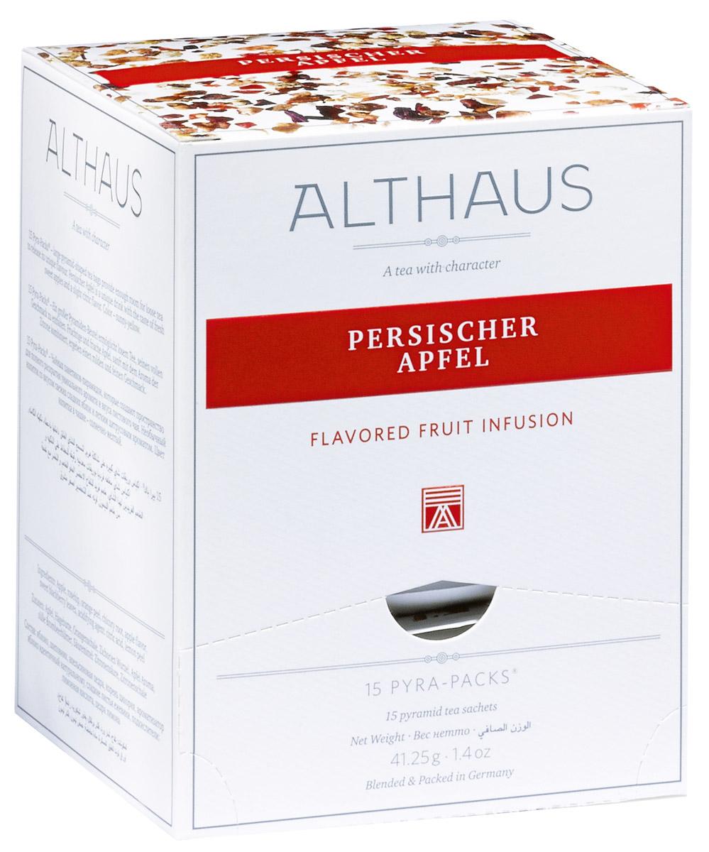 Althaus Persischer Apfel чайный напиток фруктовый в пирамидках, 15 шт0120710Althaus Persischer Apfel - душистый напиток с ароматом сладкого яблочного пирога и полупрозрачными оттенками цитрусовых.Pyra-Pack - это коллекция из 13 купажей, в которую вошли лучшие сорта высококачественного листового чая, а также отборные смеси из цельных кусочков фруктов, ягод, цветочных лепестков, целебных трав. Pyra-Pack представляет собой инновационный вариант высокотехнологичной упаковки — нейлоновые пирамидки: Пакетики в форме пирамидок создают пространство для свободного распределения чаинок, тем самым повышая степень и скорость экстракции чая. Нейлон обладает отличной пропускной способностью, поэтому чай, заваренный в нейлоновых пирамидках, получается особо насыщенным по вкусу и ароматным. Пирамидки максимально упрощают процедуру заваривания чая, при этом сохраняя эстетический эффект традиционного чаепития.