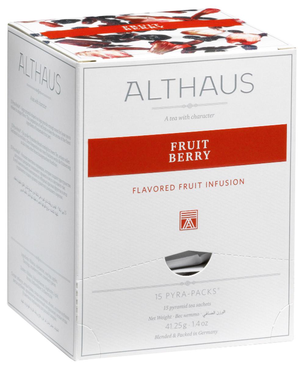 Althaus Fruit Berry чайный напиток фруктовый в пирамидках, 15 шт0120710В Althaus Fruit Berry отборный египетский каркаде сочетается с теплым запахом домашнего варенья из садовых и лесных ягод - бузины, клубники и шиповника. Этот уникальный фруктовый чай обладает ярким ягодным ароматом с легким оттенком сухофруктов. При заваривании летняя сладость раскрывается в богатом букете со множеством выразительных нюансов, соблазнительном послевкусием клубники и дикой вишни.Pyra-Pack - это коллекция из 13 купажей, в которую вошли лучшие сорта высококачественного листового чая, а также отборные смеси из цельных кусочков фруктов, ягод, цветочных лепестков, целебных трав. Pyra-Pack представляет собой инновационный вариант высокотехнологичной упаковки - нейлоновые пирамидки: Пакетики в форме пирамидок создают пространство для свободного распределения чаинок, тем самым повышая степень и скорость экстракции чая. Нейлон обладает отличной пропускной способностью, поэтому чай, заваренный в нейлоновых пирамидках, получается особо насыщенным по вкусу и ароматным. Пирамидки максимально упрощают процедуру заваривания чая, при этом сохраняя эстетический эффект традиционного чаепития.